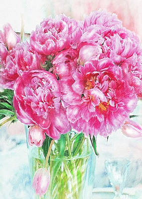 Digital Art - Pink Peonies by Jane Schnetlage