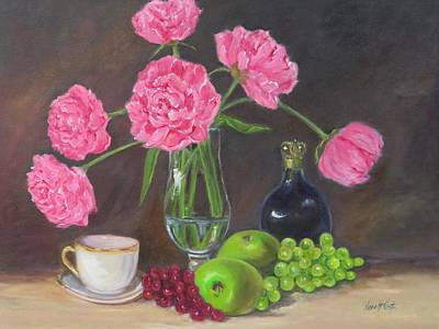 Pink Peonies With Still Life  Original by Jean Costa