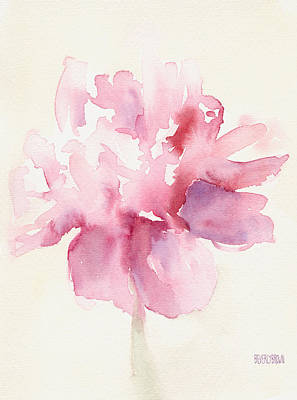 Abstract Art Painting - Pink Peony Watercolor Paintings Of Flowers by Beverly Brown