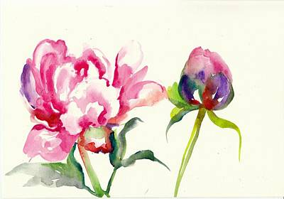 Pink Peony With Bud And Leaf Watercolor Art Print by Tiberiu Soos