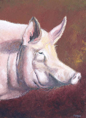 Kitchen Decor Painting - Pink Pig by Jan Matson