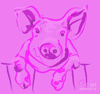 Pig Digital Art - Pink Piggy by Go Van Kampen