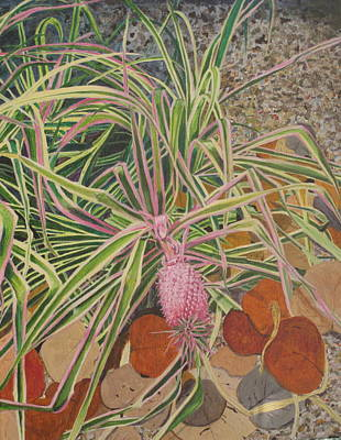 Art Print featuring the painting Pink Pineapple by Hilda and Jose Garrancho