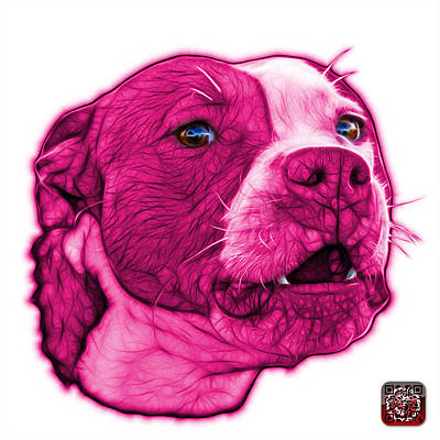 Mixed Media - Pink Pitbull Dog Art - 7769 - Wb - Fractal Dog Art by James Ahn