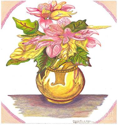 Painting - Pink Poinsettia Plant by Brigitte C Robinson