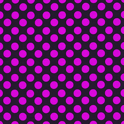 Pink Polka Dots On Black Fabric Background Art Print