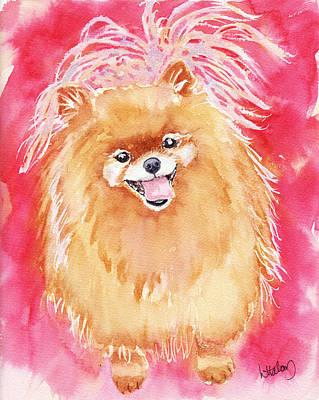 Pomeranian Wall Art - Painting - Pink Pom by Greg and Linda Halom