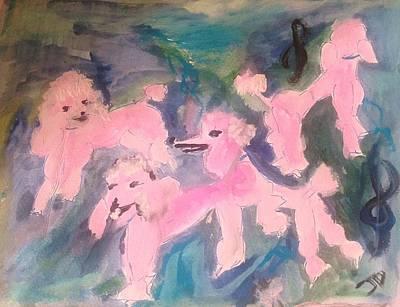 Pink Poodle Polka Art Print