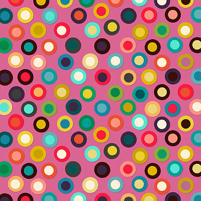 Pattern Drawing - Pink Pop Spot by Sharon Turner
