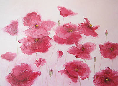 Floral Wall Art Painting - Pink Poppies By Jan Matson by Jan Matson