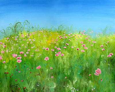 Italian White Poppy Painting - Pink Poppies by Cecilia Brendel