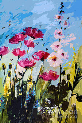 Pink Poppies Hollyhock And Bees Art Print