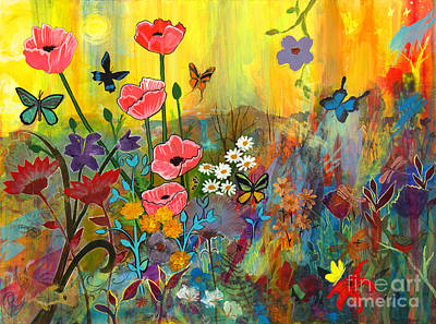 Pink Poppies In Paradise Art Print by Robin Maria Pedrero