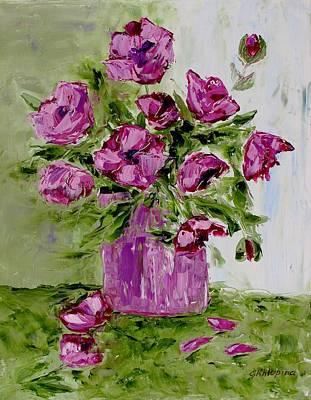 Pink Poppies In Pink Vase Art Print