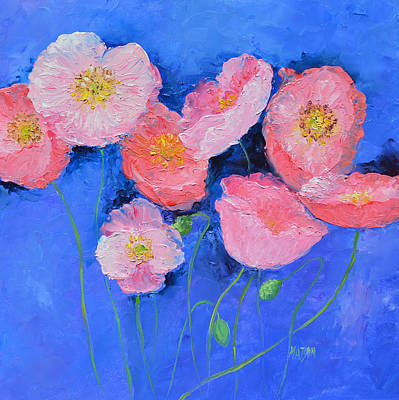 Pink Flowers Painting - Pink Poppies On Blue  by Jan Matson