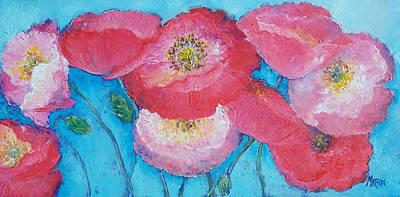 Pink Poppies On Light Blue Art Print by Jan Matson