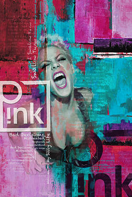 Rock And Roll Paintings - Pink Poster - B by Corporate Art Task Force
