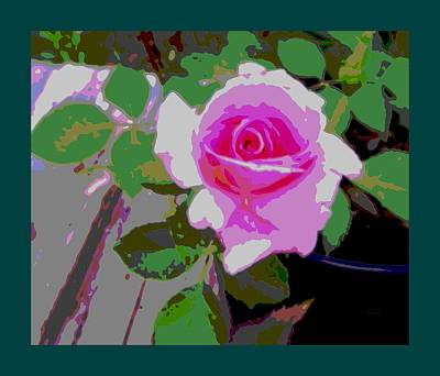 Garden Scene Mixed Media - Pink Potted Rose Teal Border by L Brown
