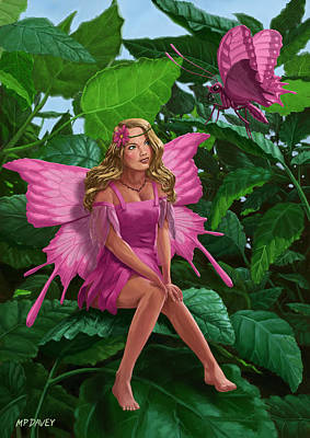 M P Davey Digital Art - Pink Pretty Fairy On Leaf With Pink Butterfly by Martin Davey