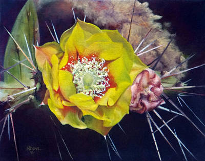Painting - Pink Prickly Pear Yellow Cactus Flower by Mary Dove