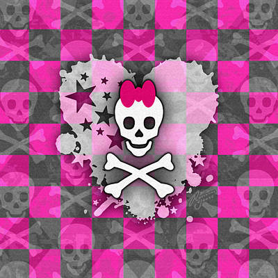 Digital Art - Pink Princess Skull Heart by Roseanne Jones