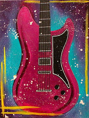 Electric Guitar Painting - Pink Pulse by Allison Liffman
