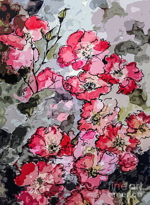 Pink Rambling Roses Modern Mixed Media Art Print