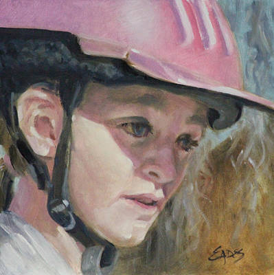 Painting - Pink Riding Helmet by Linda Eades Blackburn