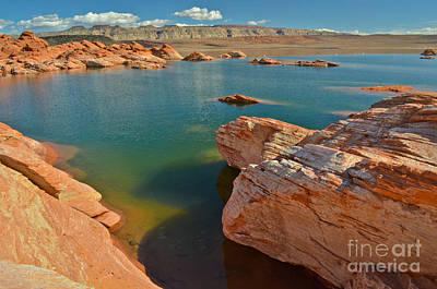 Photograph - Pink Rocks Blue Water by Jeff Loh