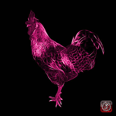 Digital Art - Pink Rooster 3186 F by James Ahn