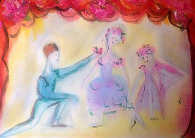 Dance Ballet Roses Painting - Pink Rose Ballet Trio by Judith Desrosiers
