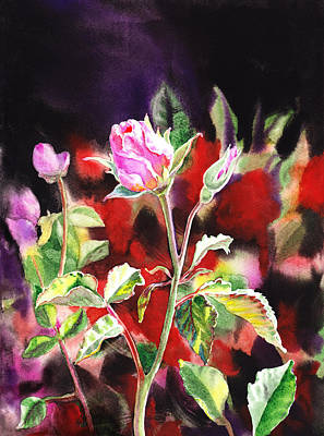 Beautiful Landscape Painting - Pink Rose Bloom by Irina Sztukowski