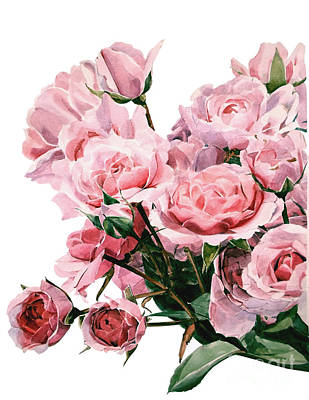 Painting - Pink Rose Bouquet by Greta Corens
