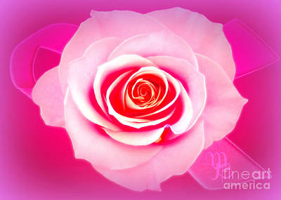 Digital Art - Pink Rose For Survivors  by Mindy Bench