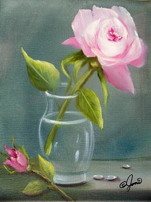 Painting - Pink Rose In Glass by Joni McPherson
