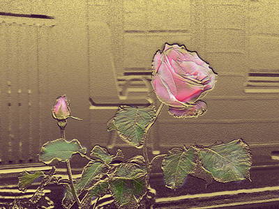 Mixed Media - Pink Rose In Gold Leaf by Steve Karol