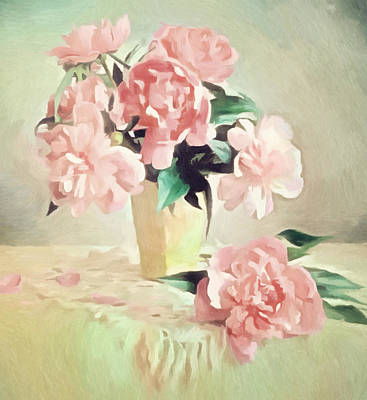 Floral Painting - Pink Rose Romance by Georgiana Romanovna
