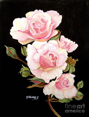 Painting - Pink Rose Spray by Carol Grimes