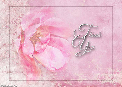 Photograph - Pink Rose Thank You Greeting Card by Debbie Portwood