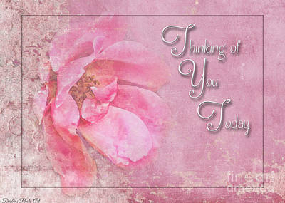 Photograph - Pink Rose Thinking Of You Greeting Card by Debbie Portwood
