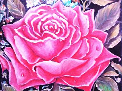 Art Print featuring the painting Pink Rose by Yolanda Rodriguez