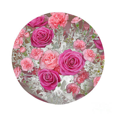 Pink Roses And Carnations In Circle Art Print by Rosemary Calvert