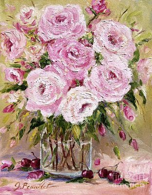 Oil Painting - Pink Roses And Cherries by Jennifer Beaudet