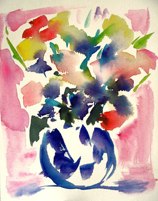 Pink Roses In A Blue Vase Art Print by Tolere