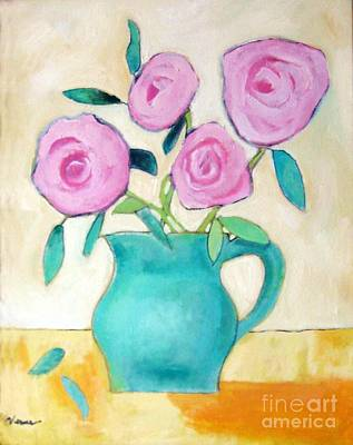 Yellow Rose Of Texas Painting - Pink Roses In A Green Vase by Venus