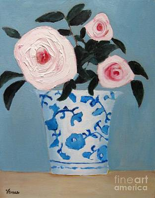 Floral Hand-painted Frame Painting - Pink Roses In A Porcelain Vase by Venus