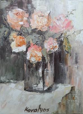 Pink Roses In A Vase Art Print by Maria Karalyos