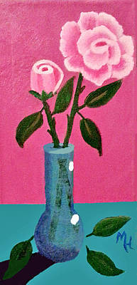 Painting - Pink Roses In Vase by Margaret Harmon