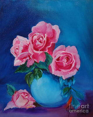 Pink Roses Art Print by Jenny Lee