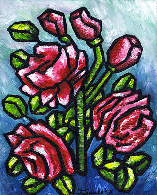 Passionate Painting - Pink Roses by Kamil Swiatek